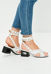Missguided White Studded Cut Out Block Heel Sandals