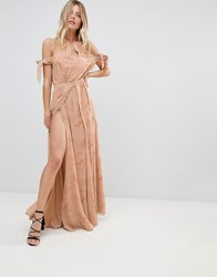 The Jetset Diaries Sierra Lace Thigh Split Cold Shoulder Maxi Dress Pink