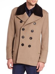 Burberry Elson Fur Trimmed Wool And Cashmere Peacoat Taupe Brown