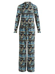 La Doublej Editions Umbrellas Print Long Sleeve Jumpsuit Blue Multi