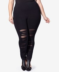 Mblm By Tess Holliday Trendy Plus Size Ripped Leggings Black