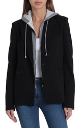 Bagatelle Blazer With Detachable French Terry Hood Black Grey