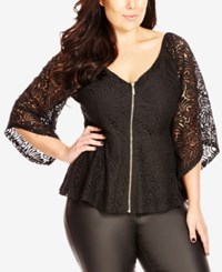 City Chic Trendy Plus Size Kimono Sleeve Lace Top Black