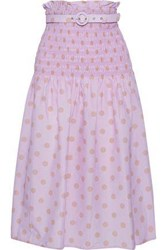Nicholas Woman Belted Shirred Printed Cotton And Silk Blend Midi Skirt Lavender