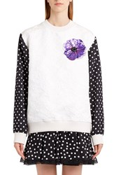 Dolce And Gabbana Women's Dot Sleeve Embellished Sweatshirt