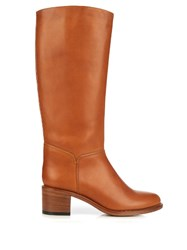 A.P.C. Iris Knee High Leather Boots Brown