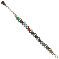 Eclectica Vintage 1960S Miracle Silver Plated Glass Cabochon Bracelet Multi