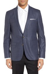Sand Men's Trim Fit Wool Blazer Aqua