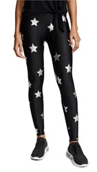 Terez Silver Star Foil Printed Leggings Silver Star Foil Black