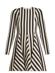 Valentino Striped Wool And Silk Blend Dress White Black