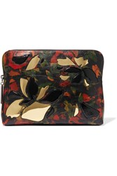3.1 Phillip Lim 31 Minute Pvc Trimmed Printed Textured Leather Pouch Black