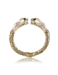 Roberto Cavalli Gold Tone Metal And Multicolor Enamel Double Snake Bangle Bracelet