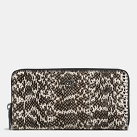 Coach Accordion Zip Wallet In Snakeskin Dk Chalk Black