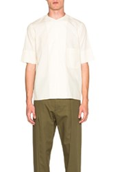 Christophe Lemaire Lemaire Soft Cotton Poplin Short Sleeve Collarless Shirt In Neutrals