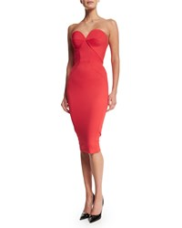 Zac Posen Strapless Fitted Cocktail Dress Coral