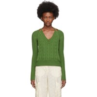 Jacquemus Green La Double Maille V Neck Sweater