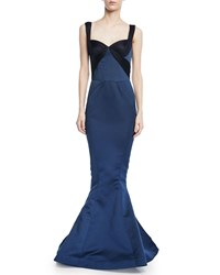Zac Posen Double Faced Duchess Gown W Gathered Tulle Trim Blue Pattern