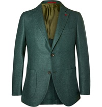 Isaia Wool And Silk Blend Blazer Green
