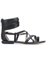 Sam Edelman Ankle Strap Sandals Women Leather Polyester Rubber 39 Black