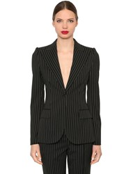 Dolce And Gabbana Pinstriped Stretch Cool Wool Blazer Black