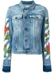 Off White Roses Embroidery Denim Jacket Blue
