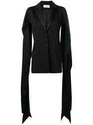 Esteban Cortazar Draped Slit Sleeve Blazer Black