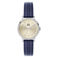 Orla Kiely Women's Stem Print Strap Leather Strap Watch Navy Cream