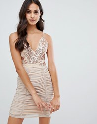 Girls On Film Strappy Bodycon Dress With Sequin Detail Pink