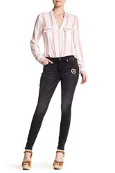 True Religion Halle Mid Rise Super Skinny Patched Jean Gray
