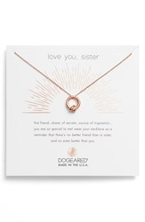 Dogeared 'S Love You Sister Together Knot Pendant Necklace Rose Gold