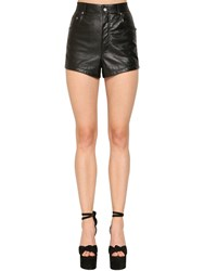 Saint Laurent High Waist Leather Shorts Black