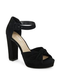 424 Fifth Maxwell Suede Platform Pumps Black