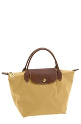 Longchamp 'Mini Le Pliage' Handbag Metallic Curry