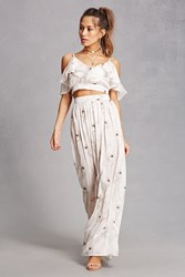 Forever 21 Oh My Love Satin Crop Top Ivory Multi