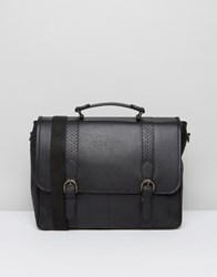 Asos Leather Satchel In Black With Brogue Detailing Black