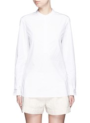 3.1 Phillip Lim Smocked Cuff Poplin Shirt White
