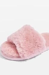 Topshop Cleo Genuine Shearling Slide Slippers Pink