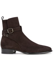 Jimmy Choo Buckle Strap Boots Men Calf Leather 44 Brown