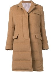 Thom Browne Camel Down Filled Overcoat Neutrals