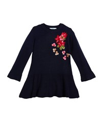 Mayoral Knit Floral Embroidery Sweater Dress Blue