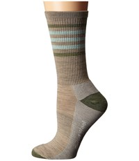 Smartwool Striped Hike Light Crew Oatmeal Mint Women's Crew Cut Socks Shoes White