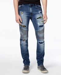 Reason Men's Slim Fit Camo Patch Moto Jeans Dark Blue