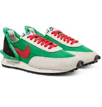 Nike Undercover Daybreak Leather Trimmed Nylon And Suede Sneakers Green