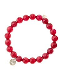 Sydney Evan 8Mm Faceted Red Agate Beaded Bracelet With Mini Yellow Gold Pave Diamond Disc Charm Made To Order