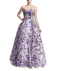 Naeem Khan Sweetheart Neck Strapless Floral Print Gown Purple White Women's