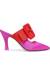 Attico Chloe Two Tone Moire Mules Pink Gbp