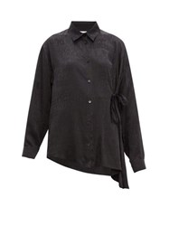 Balenciaga Tie Side Logo Jacquard Silk Blouse Black