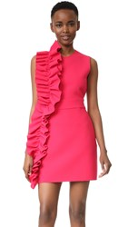 Msgm Ruffle Crepe Dress Pink