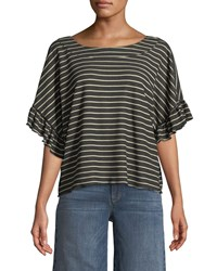 Ella Moss Reversible Striped Short Sleeve Tie Back Tee Black Brown