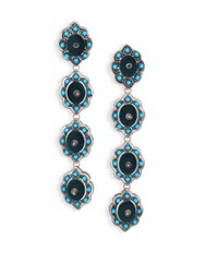 Gucci Floral Studded Enamel And Velvet Clip On Drop Earrings Turquoise